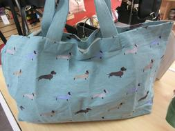 100% Cotton Extra Large Dachshund Turquoise Travel Shopper T