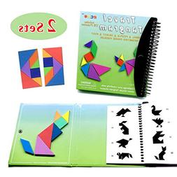 150 Puzzles Magnetic Travel Tangram Fancy Toy Children Adult