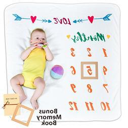 Baby Premium Monthly Milestone Blanket, Photo Prop & Book, S