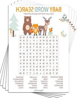 Baby Word Search Game Cards  - Baby Shower Games Ideas for B