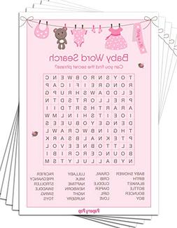 Baby Word Search Game Cards  - Baby Shower Games Ideas for G