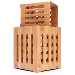 Well Weng Large Bamboo Utensil Holder 2 Pack Utensil Crocks