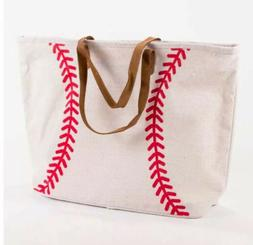 Baseball X-Large Jute Woven Tote Bag Leather Handles Classic