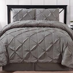 Comforter Set Brushed Microfiber 4 Piece Pinch Pleat Pintuck
