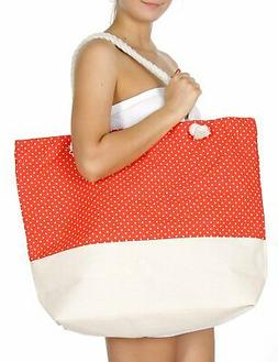 Extra large canvas beach bag Polka dot