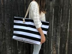 Extra Large Canvas Tote Bag-Beach Bag-Travel Picnic Gym Blac