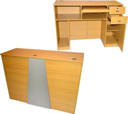 Extra Large Oak Reception Computer Desk Locking Drawer Salon