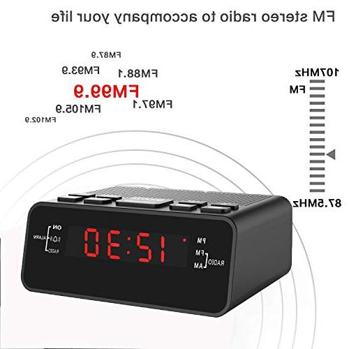 Jingsense Alarm Clock Radio with Dimmer, Snooze, for Bedrooms/Night Stands-Black