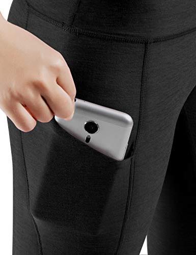 ODODOS Pocket Capris Pants Tummy 4 Way Stretch Yoga Capris Leggings,Black,X-Large