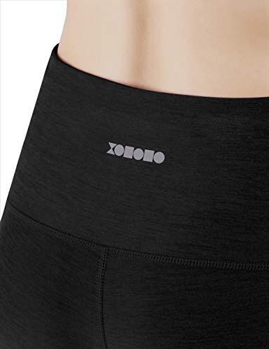 ODODOS High Waist Pocket Yoga Tummy 4 Stretch Yoga Capris Leggings,Black,X-Large