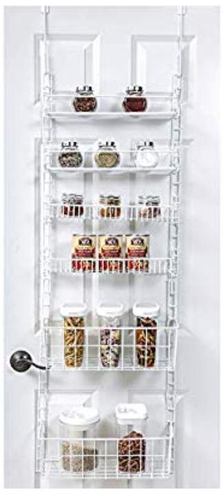 Adjustable Smart Design Over Door Pantry Organizer Rack W 6