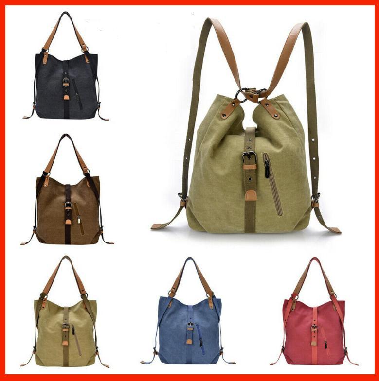 aline canvas backpack shoulder bag with extra
