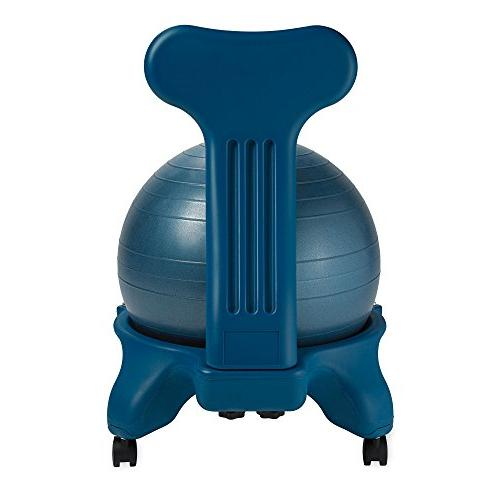 Gaiam Classic Ball Chair Yoga Ball Chair Home Office Desk with Air Pump, Guide Satisfaction Ocean