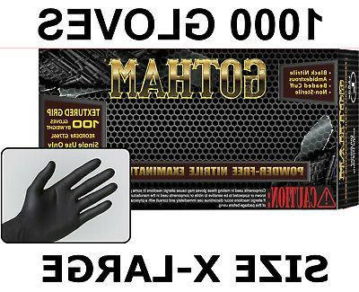 black nitrile exam gloves powder free case