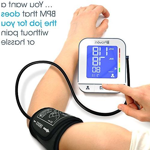 Blood Pressure High Accuracy Upper Arm Premium Machine iProvèn BPM-2244BT for iPhone Android - Large - Rated Cuffs