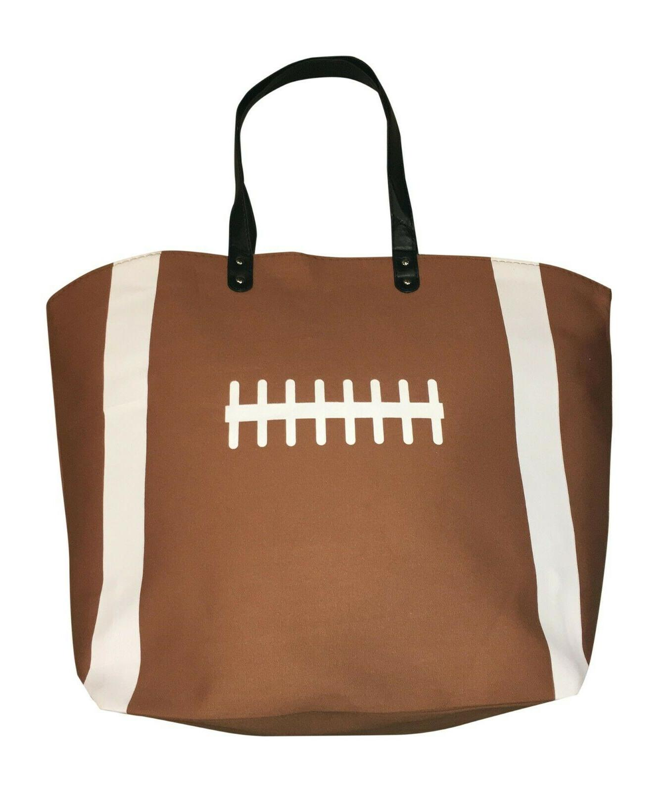 brown football canvas tote sports bag extra