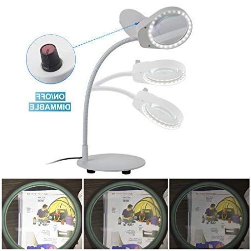TOMSOO Dimmable Lamp - 1 Table Lamp & LED Magnifying for Crafts, Repair,