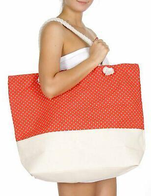 extra large canvas beach bag polka dot