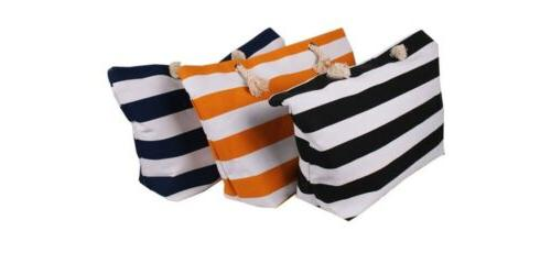 Extra Large Bag-Beach Picnic Navi and Stripes