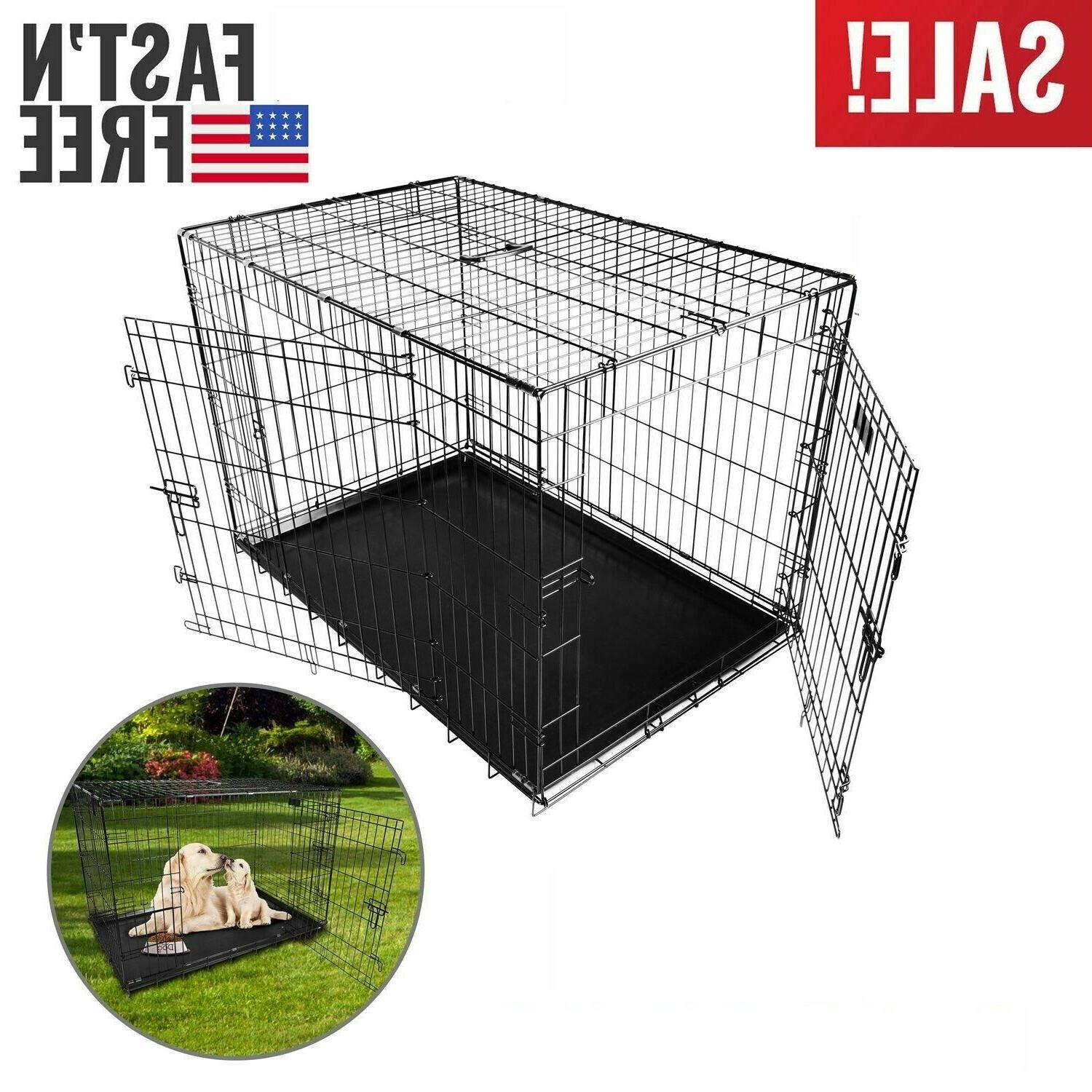 Extra Large Dog 48 Cage Doors Metal Tray