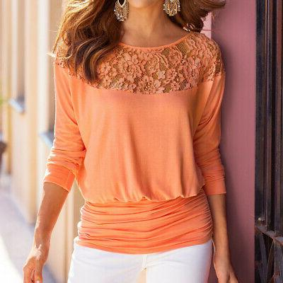 Fashion Women Summer Loose Casual Ladies Long Lace Up Blouse