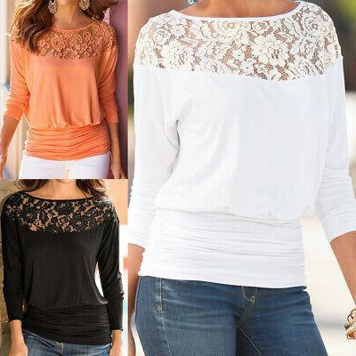 Fashion Women Summer Loose Casual Long Lace T-Shirt Blouse
