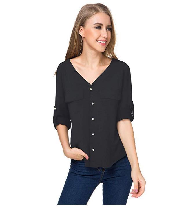 LYHNMW Shirt Sleeve Sleeve Chiffon Blouse