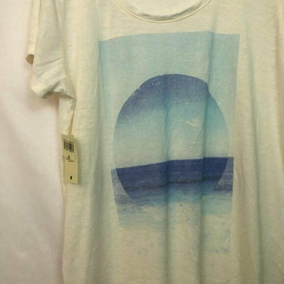 NEW Cream Ocean Beach Short Sleeve Graphic XL Extra Large