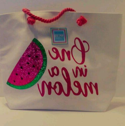 nwt new tote beach bag pink white