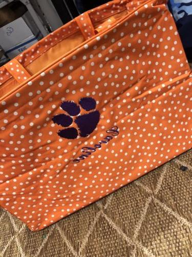 orange scattered dot ultimate tote purple paw