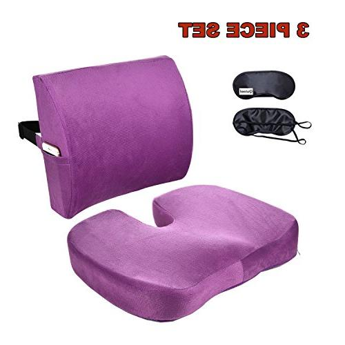 Qutool Orthopedic Foam Seat Cushion and Lumbar Support Back Lower Back Sciatica Relief and Car Seat Set Adjustable