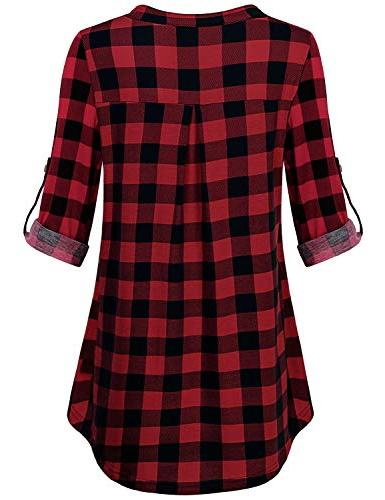 MOQIVGI Red Women,Prime Wardrobe Womens V Neck Button Office Blouses 2018 Casual Red Medium