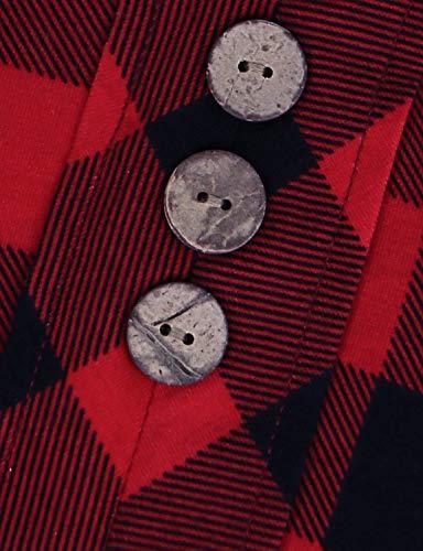 MOQIVGI Women,Prime Wardrobe V Neck Button Office Blouses 2018 Casual Tunic 3/4 Sleeve Red Medium
