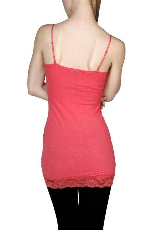 Womens Plus Size Lace Tank Top Cami Long USA