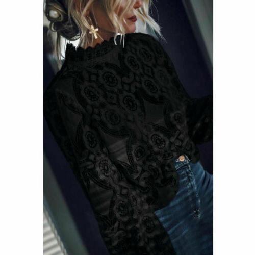 US Women Long Loose Lace T Fashion Tops