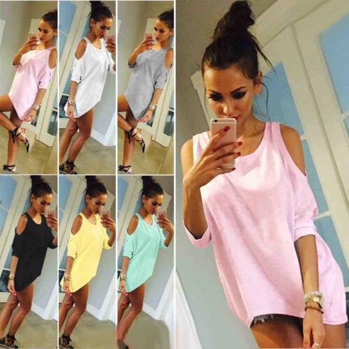 US Womens Loose T-Shirt Short Sleeve Casual Tops Tee