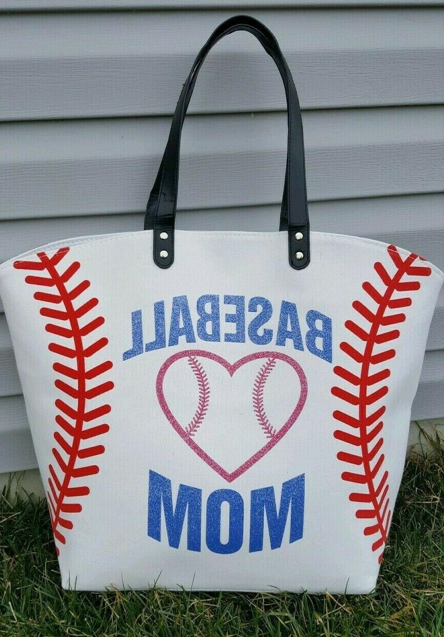 white baseball mom bag extra large multi