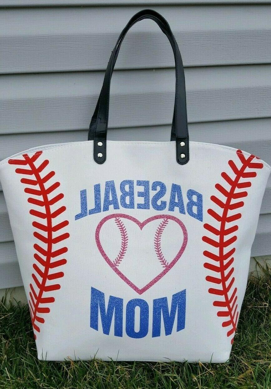 white baseball mom bag extra large multi