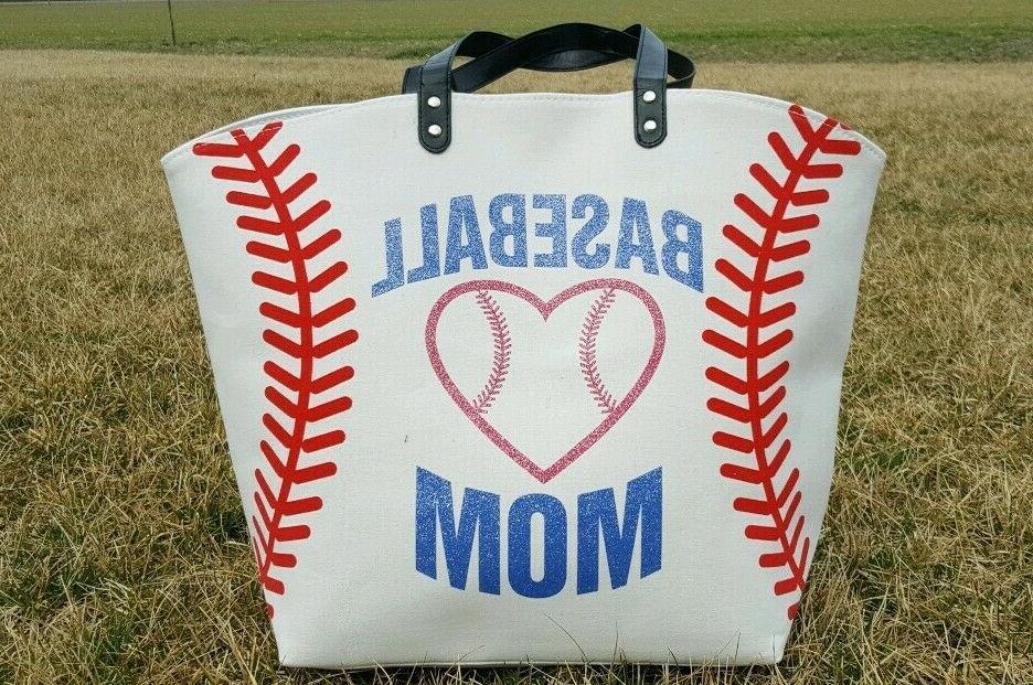 white baseball mom canvas tote bag extra
