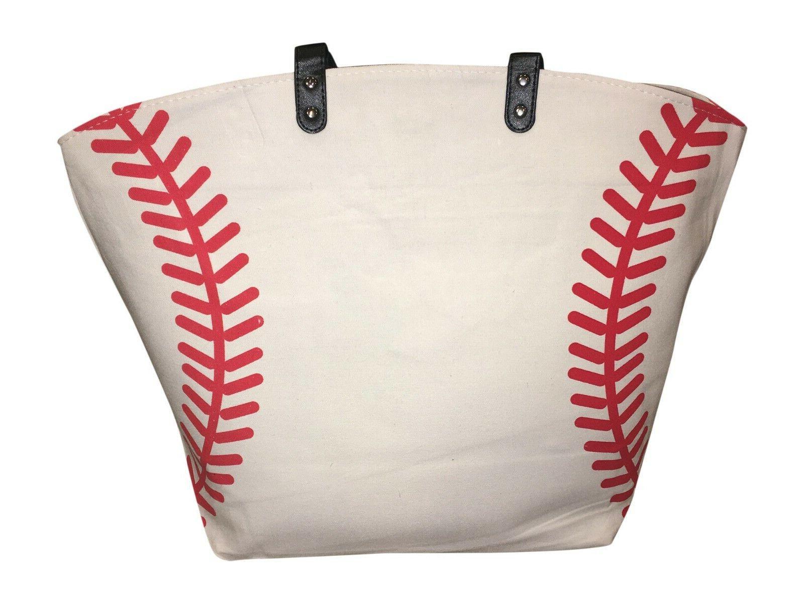 white baseball seam canvas tote bag purse