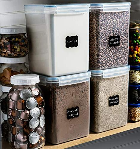 EXTRA LARGE DEEP Food Pantry Containers 5.2L /176 oz + Measuring Cup 18 FREE Chalkboard labels and Ideal Baking - Clear Plastic