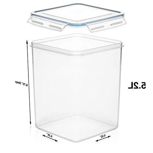 EXTRA DEEP Pantry Containers /176 oz 4 Measuring Cup + Chalkboard labels Ideal Sugar, Flour, Baking Supplies Plastic