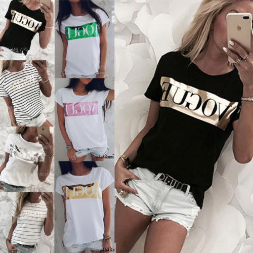 Women Short Sleeve Loose T Shirts Fashion Summer Casual Blou