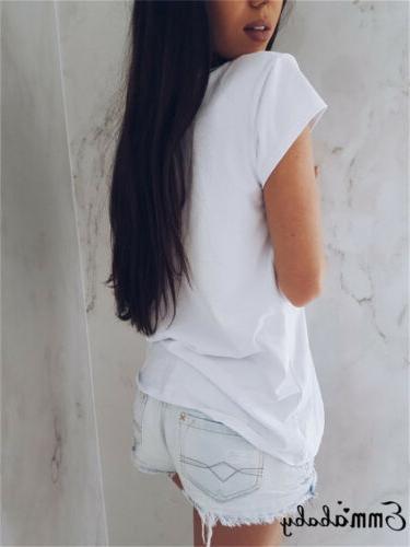 Women Short Sleeve Loose T Shirts Fashion Summer Casual Blou