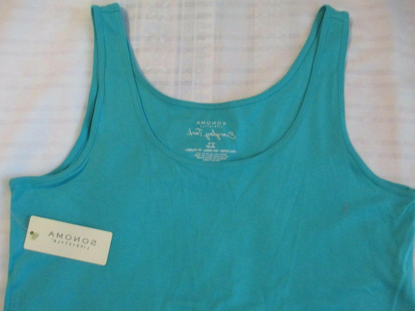 WOMENS EXTRA XL EVERYDAY TANK TOP SOLID TURQUOISE
