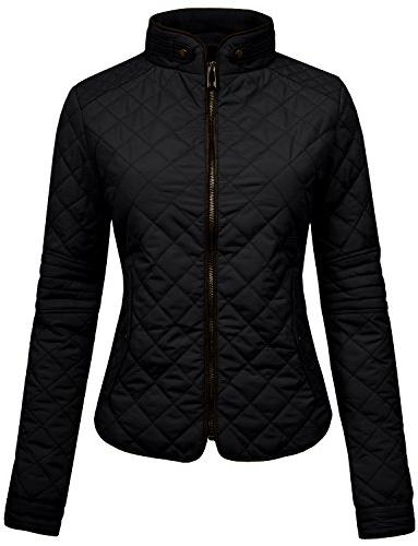 womens lightweight quilted zip jacket black s