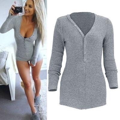 Womens Neck Knitted Bodysuit Lingerie