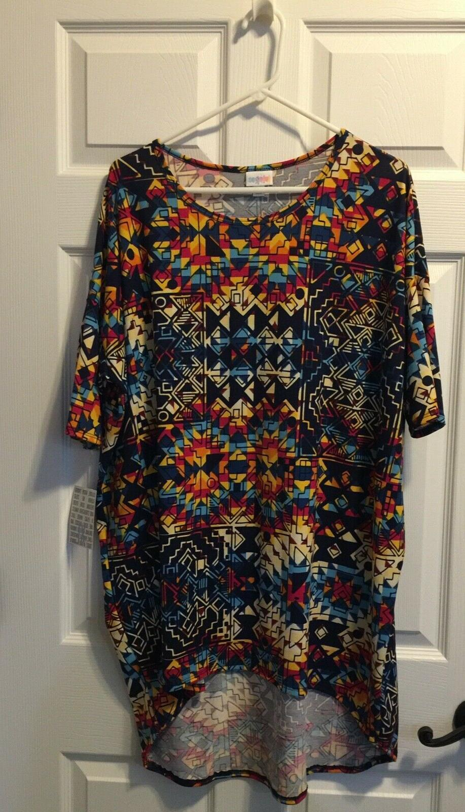 xl extra large multicolor geometric irma tunic