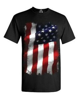 Large American Flag Patriotic T-shirt 4th of July USA Flag S