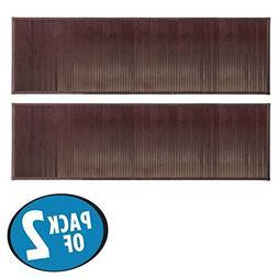 mDesign Water-Resistant Bamboo Floor Mat for Bathroom - Pack
